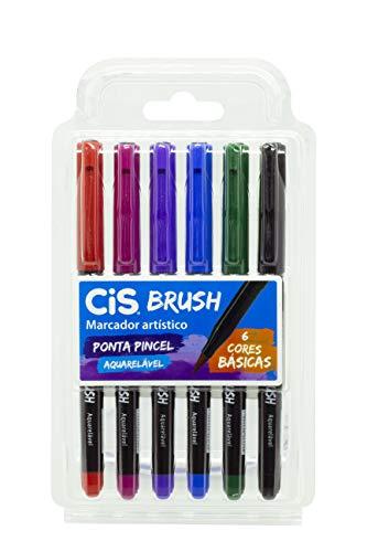 Marcador Artístico CIS Brush Estojo com 6 Cores Básicas