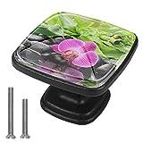 (4 piezas) pomos de cajón para aparador, pomos de cristal para cajones y armarios de cocina y bambú Zen