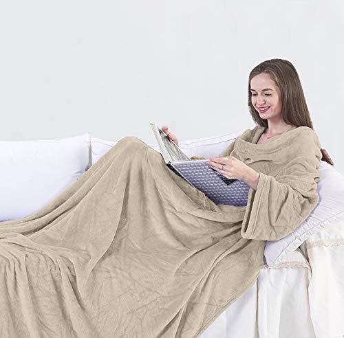 DecoKing Kuscheldecke mit Ärmeln 170x200 cm Cappuccino Microfaser TV Decke weich Tagesdecke Lazy