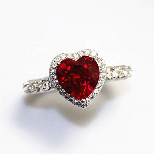 Dungkey Red Ruby Heart Shape Gemstone Sterling 925 Silver Wedding Rings for Women Bridal Fine Jewelry Engagement Bague Accessories (6)