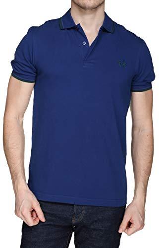 Fred Perry Polo de doble punta para hombre, azul medieval, azul medianoche, hiedra, mediano