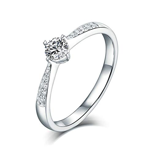 Bishilin Anillo de Compromiso Oro Blanco 750, Solitario 4 Garras Diamante Bandas de Boda 0.25ct Diamante Elegante Anillo de Compromiso Anillo de Aniversario Oro Blanco Talla: 21