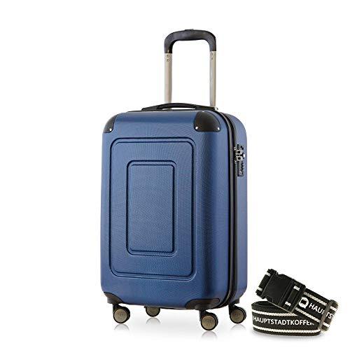 Happy Trolley - Lugano Handgepäck Kabinentrolley Bordgepäck Hartschalen-Koffer Trolley Reisekoffer, sehr leicht, TSA, 55 cm, 40L, Dunkelblau +Gepäckgurt