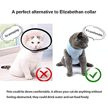 Due Felice Cat Professional Surgical Recovery Suit for Abdominal Wounds Skin Diseases, After Surgery Wear, E-Collar Alternative for Cats Dogs, Home Indoor Pets Clothing Blue M