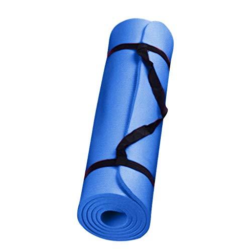 MOTOCO Komfort-Gymnastikmatte Yogamatte Hautfreundliche Fitnessmatte in 183X60X0.4CM mit Tragegurt Phtalatfrei - Sportmatte für Yoga Pilates und Bodenübung(183X60X0.4CM.Blau)