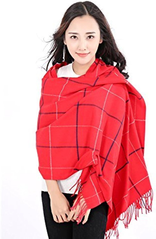 SED ScarfFemale AllMatch Plaid Scarf Scarf Shawl General Warm Seasons Imitation Cashmere Scarf Female Autumn and Winter Korean Students Knitted Shawl Long
