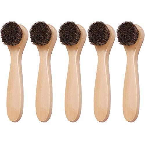 Coolty 5 Stück Rosshaar Schuhbürsten für Putzen, Polieren und Schuhpflege