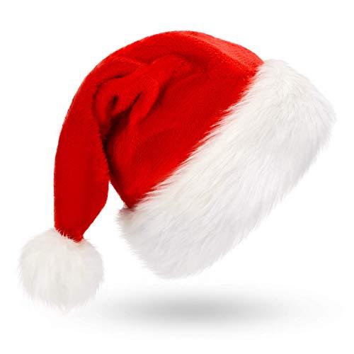 Ptsaying Weihnachtsmütze Nikolausmütze plüsche weihnachtsmann mütze Rote Santa Mütze Nikolaus Dicker Fellrand aus Plüsch kuschelweich & angenehm (Erwachsener)