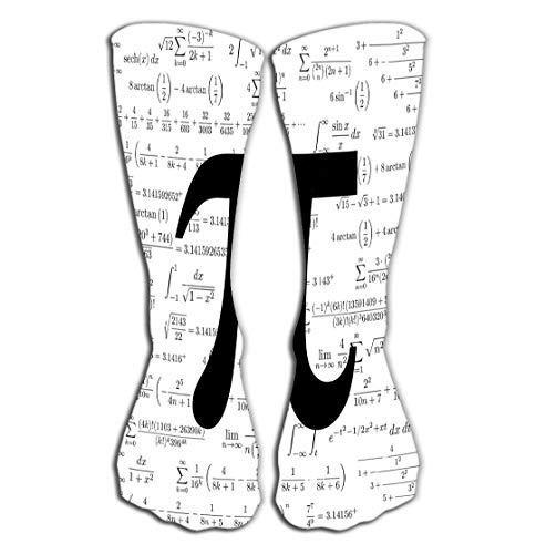 Xunulyn Hohe Socken Women's Tube Stockings High Graduated Over-The-Calf Tube 19.7'(50cm) pi Symbol Mathematical Constant irrational Number Many Formulas Background Greek Letter