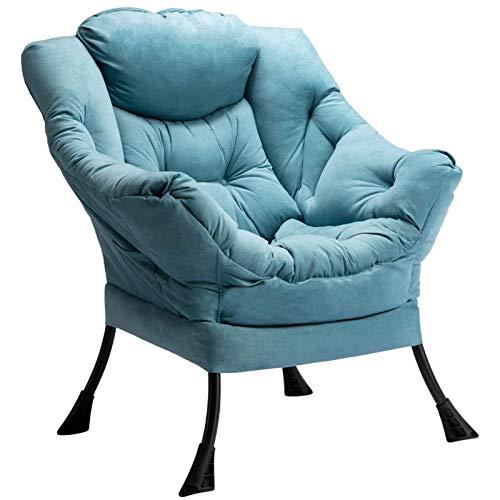 HollyHOME Relaxsessel Sessel mit Stahlrahmen Relaxliege Freizeitsofa Chaiselongue Lazy Chair Relax Loungesessel mit Armlehnen und Taschen, Blau