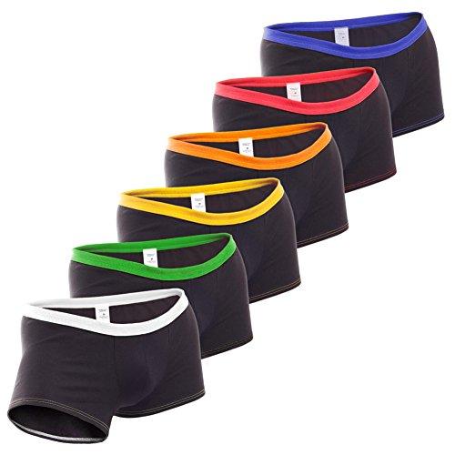 NBN (NoBrandName) Herren Boxershorts eng anliegend, 6erPack schwarz-weiß/grün/orange/gelb/rot/blau, Bequeme Slim fit Baumwoll Unterhose, Made in Germany