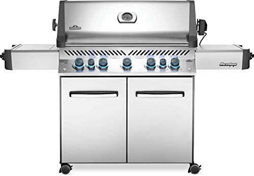 Napoleon Prestige P665 BBQ Grill, Stainless Steel, Propane Gas - P665RSIBPSS With Infrared Rear And Side Burner, Premium Barbecue Gas Cart For Grilling Masters - Rotisserie Included