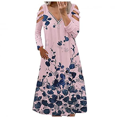 Dasongff Sommerkleider Damen Blumen Maxikleid Bohemian A-Linie Lang Kleider Knielang Sommerkleid Partykleid Reißverschluss V-Ausschnitt Schulterfrei Langarm Strandkleider Blusenkleid Freizeitkleid