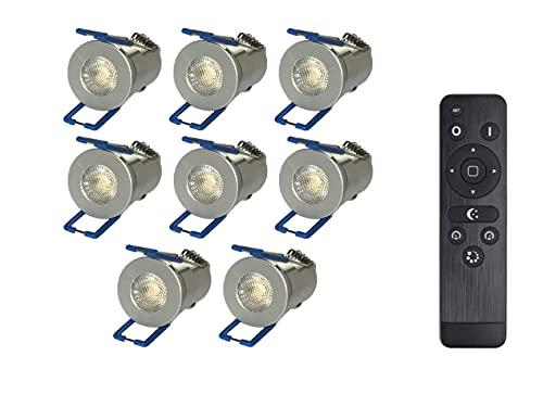 Nas Technology 3W LED Mini Einbaustrahler, Alu, IP65 Wassergeschützt, 3000K Warmweiß, Dimmbar, Mini-Einbauleuchten für Innen- und Außen, ideal für Terrassendach, Bad, Carport (Silber, 8x Minispot)