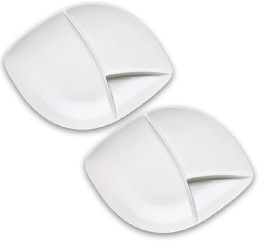 Dinnerware Set Of 2 Large Divided Porcelain Burger Plates For Fries Sauce Stoneware Grey White Colors Alfresco Ceramic Mix Match Our Entire Range For Stylish Backyard BBQ Or Outdoor Parties