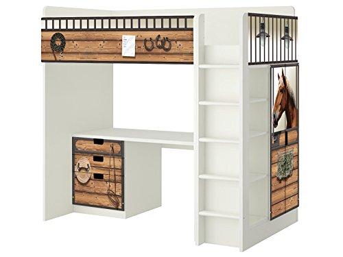 Pferdestall Möbelfolie - SH13 - passend für die Kinderzimmer Hochbett-Kombination STUVA von IKEA - Bestehend aus Hochbett, Kommode (3 Fächer), Kleiderschrank und Schreibtisch - Möbel Nicht Inklusive | STIKKIPIX