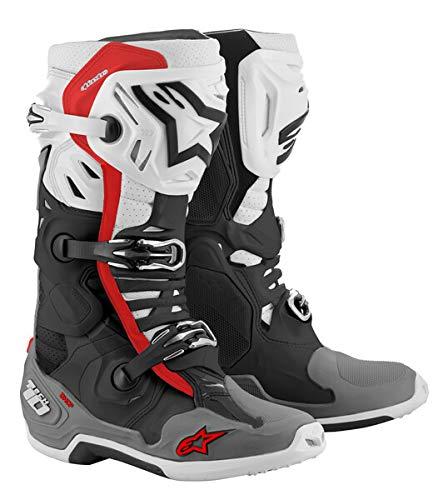Alpinestars Men's Tech 10 Supervented Boot, Black/White/Gray/Red, 10
