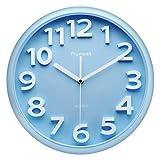 Plumeet Reloj de Pared Grande de 33cm, Relojes Decorativos de Cuarzo silencioso Que no Hace tictac, Gran Pantalla de números tridimensionales (Azul)