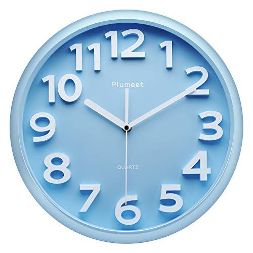 Plumeet 33 cm Große Wanduhr, Nicht tickende Stille Quarz Dekorative Uhren, Moderner Stil Gut für Wohnküche Wohnzimmer Schlafzimmer Büro, Große 3D-Nummer Anzeige, batteriebetrieben (Blau)