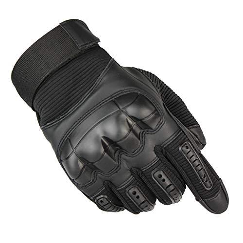 Hodeacc Motorradhandschuhe, Touchscreen-Vollfinger-Handschuhe, winddicht, Handschuhe für Rennsport, Radfahren, Motorrad, Wandern, Outdoor, Sport, Klettern Gr. L, Schwarz