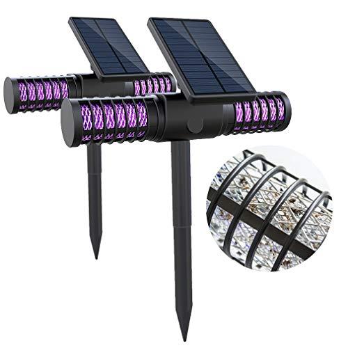 TIM-LI Confezione da 2 Luci A Energia Solare - Luce Anti-Zanzare USB di Ricarica LED Pest Zapper Impermeabile, Doppia modalità Lampada Esterna per Giardino Patio Prato Cortile