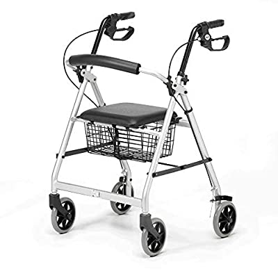 Days Essentials, Lightweight Wheel Rollator, Folding Four Wheel Mobility Walker with Padded Seat,Back Support, Mobility Aid Seat Basket, Carry Bag, Silver/Grey