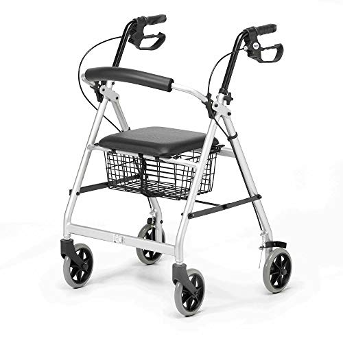 Days Essentials, Lightweight Wheel Rollator, Folding Four Wheel Walker with Padded Seat, Back Support, Ergonomic Handles With Seat Basket, Carry Bag, Silver/Grey