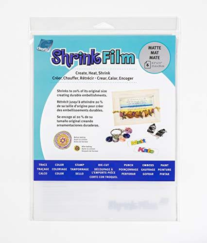 Grafix Ksf50-w 8–1/5,1 cm par 27,9 cm Shrink Film, Mat, 6-Pack