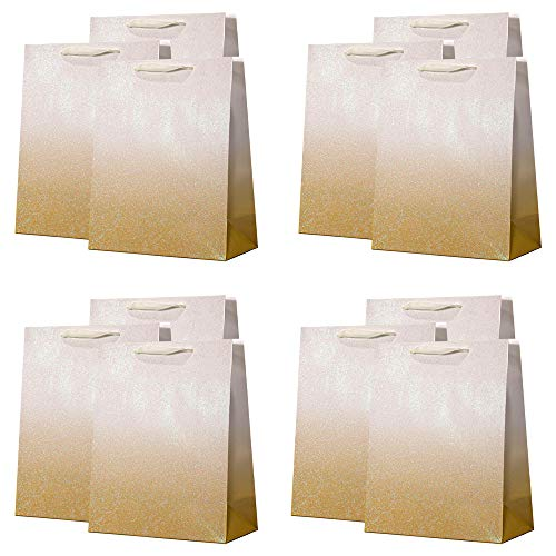 UNIQOOO 12Pcs Gold Glitter Ombre Gift Bags Bulk, 100% Recyclable Gift Wrapping Paper Bags, For Bridal Shower, Wedding Birthday Party Favor Thank You Bag, Mother's Day Anniversary, Large12.5x10.5x4Inch