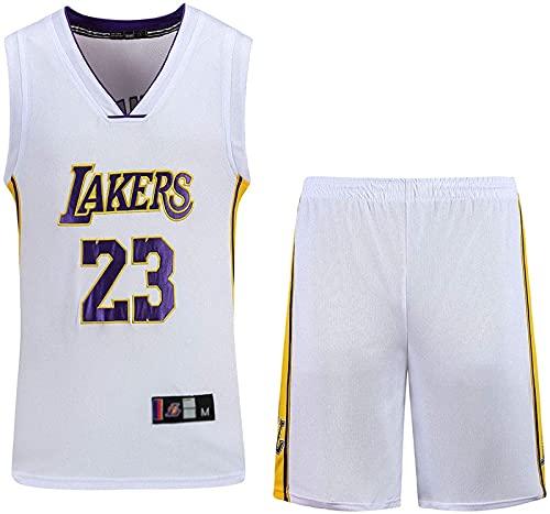 CPBY Jersey Men's Basketball Jersey Bordado Set Chaleco Shorts Ejercicio Esencial, Unified Superior & Shorts Chaleco Transpirable, Púrpura, S, White - XX-Large