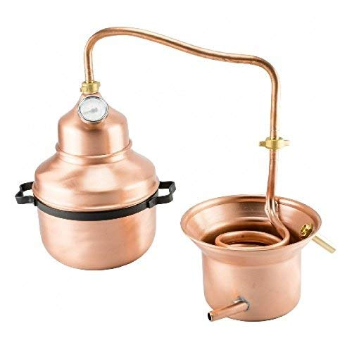 arterameferro Distillatore Alambicco in Rame 3 Litri Modello a Serpentina e con Manici