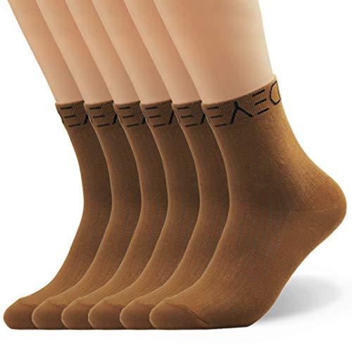 Seoulmade Herren & Damen Socken aus Premium Baumwolle   Bunte Streetwear Socken Braun 40-44 6x Paar