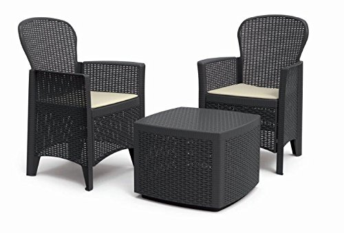 'Plastica Lounge 'Tree Antracite in rattan, effetto auflagen von IPAE Progarden, made in Europe