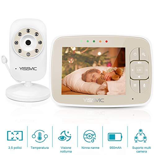 Yissvic Baby Monitor, 3.5\'\' Schermo, Batteria 950mAh Funzione VOX Visione Notturna Controllo temperatura Ninnenanne Attivazione Vocale Citofono Bidirezionale 2x Zoom Fino a 4 Telecamere Collegabili