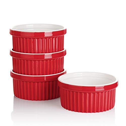 Sweese 503.404 Porcelain Ramekins for Baking - 12 Ounce Souffle Dish - Set of 4, Red