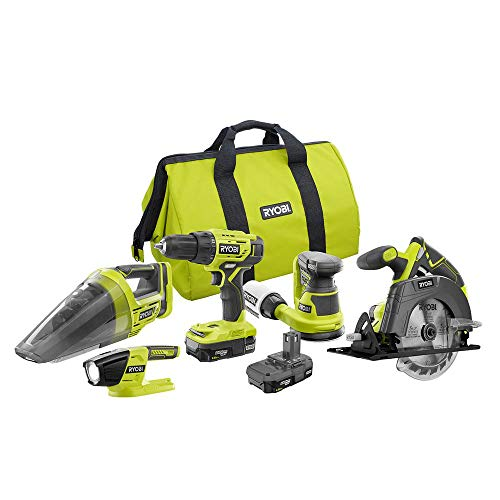 Ryobi 18-Volt ONE+ Cordless 5-Tool Combo Kit with (2) 1.5 Ah Compact Lithium-Ion Batteries, Charger, and Bag