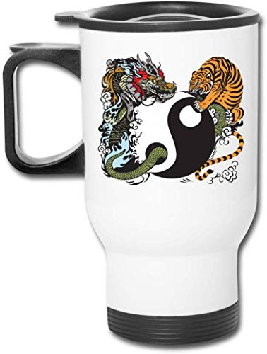 Bestqe Taza Aislada con Asa, Dragon Tiger Tai Chi Travel Mug Vacuum-Insulated...