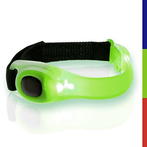 igadgitz Xtra U3999 Lumin Safe Riflettenti Hi Vis Fascia da Braccio Strap Impermeabile Regolabile Silicone con Lampeggiante del LED - Verde