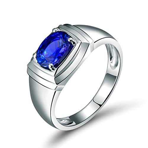 Aeici 18K White Gold Ring,1.22 Ct Trapezoid Tanzanite Ring Mens Wedding Size W 1/2 white gold