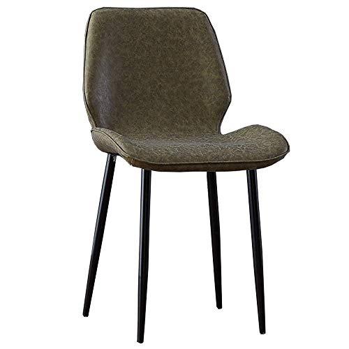 JIEER-C stoel Keuken Stoelen Kunstleer kussen Thuisstoel Retro Lounge Stoelen Metalen been Gewicht limiet 330 Lbs Multi-kleur optioneel (Kleur : Groen) Groen