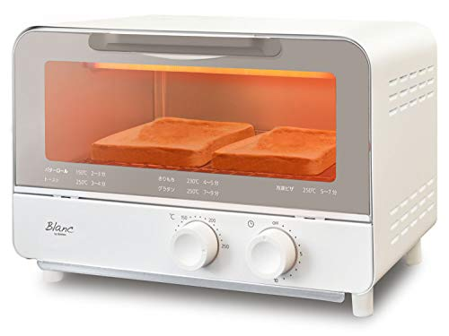 dretec(ドリテック) オーブントースター トレー付 2枚焼き おしゃれ レトロ トースター タイマー 温度調整 100〜250℃ ホワイト