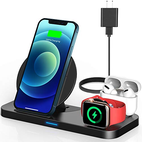 Yemo 3 in 1 Wireless Charging Station Compatible with Apple iWatch Series Se 6 5 4 3 2, Airpods Pro 2, Fast Charging Station Dock for Apple Products Compatible with iPhone 12, 11, 11 Pro, Xr, Xs Max