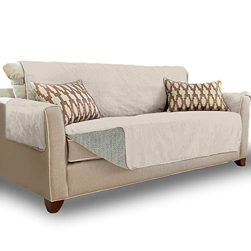 Gorilla Grip Original Slip Resistant X-Large Oversized Sofa Protector, Seat Width to 78 Inch, Patent Pending Suede-Like Furniture Slipcover, 2 Inch Straps, Couch Slip Cover Throw for Dogs, Sofa, Linen
