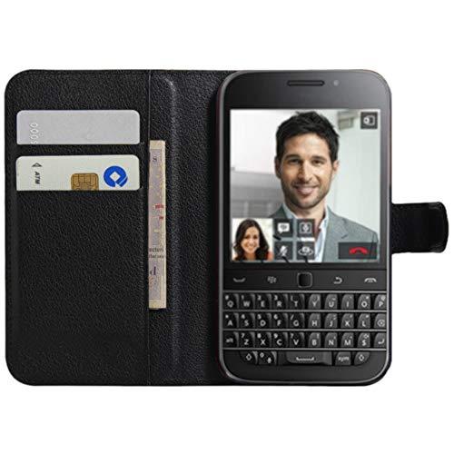 HualuBro BlackBerry Classic Hülle, Premium PU Leder Leather Wallet HandyHülle Tasche Schutzhülle Flip Case Cover für BlackBerry Classic Q20 Smartphone (Schwarz)