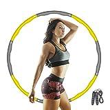 Aikove Hula Hoop, Hula Hoop de Fitness para niños, Hula Hoop de Espuma Desmontable de 8 segmentos con Cuerda para Saltar, Ajustable 72-96cm, para la pérdida de Peso y el Ejercicio (Gris Amarillo)