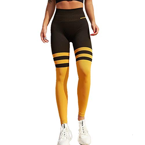 WYZTLNMA Women High Waist Yoga Pant Gym Stripe Patchwork Leggings Breathable Quick-Drying Sports Trousers Tights Yellow
