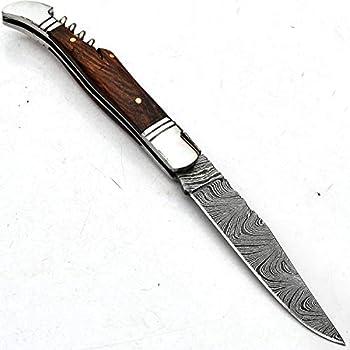 9722 Couteau artisanal en acier Damas pour poche pliable avec gaine en cuir