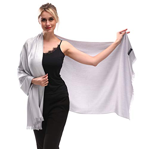 KAVINGKALY Hilo de seda metálico brillante para mujer Pashmina suave Grandes mantones y abrigos Bufanda para vestidos de noche (Plata)