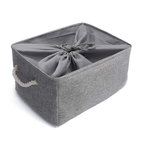 Mangata Zusammenklappbare, verdickte Aufbewahrungsbox aus Leinen mit Seilgriffen (Grau, XXLarge)