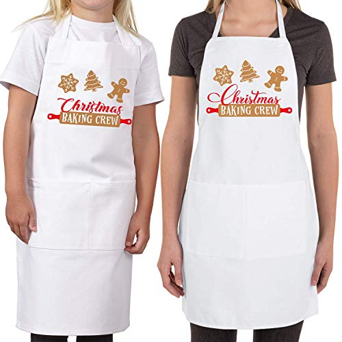 Saukore 2 Pack Christmas Matching Aprons for Kids and Adults - Christmas Baking Crew - White Kitchen Aprons with 2 Pockets for Cooking Baking, Cute Custom Aprons Gift for Family